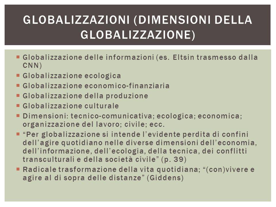  Globalizzazione delle informazioni (es. Eltsin trasmesso dalla CNN)  Globalizzazione ecologica  Globalizzazione economico-finanziaria  Globalizza