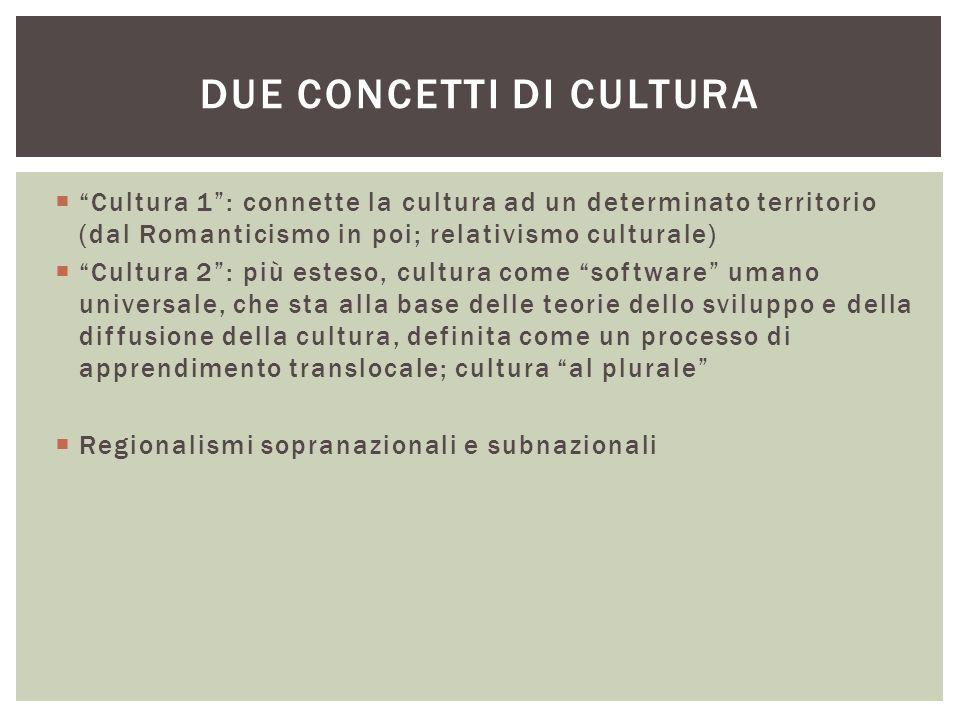 """ """"Cultura 1"""": connette la cultura ad un determinato territorio (dal Romanticismo in poi; relativismo culturale)  """"Cultura 2"""": più esteso, cultura co"""