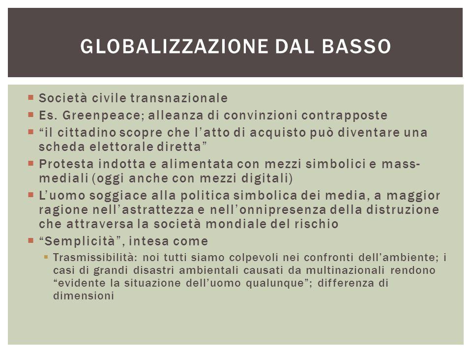 """ Società civile transnazionale  Es. Greenpeace; alleanza di convinzioni contrapposte  """"il cittadino scopre che l'atto di acquisto può diventare una"""