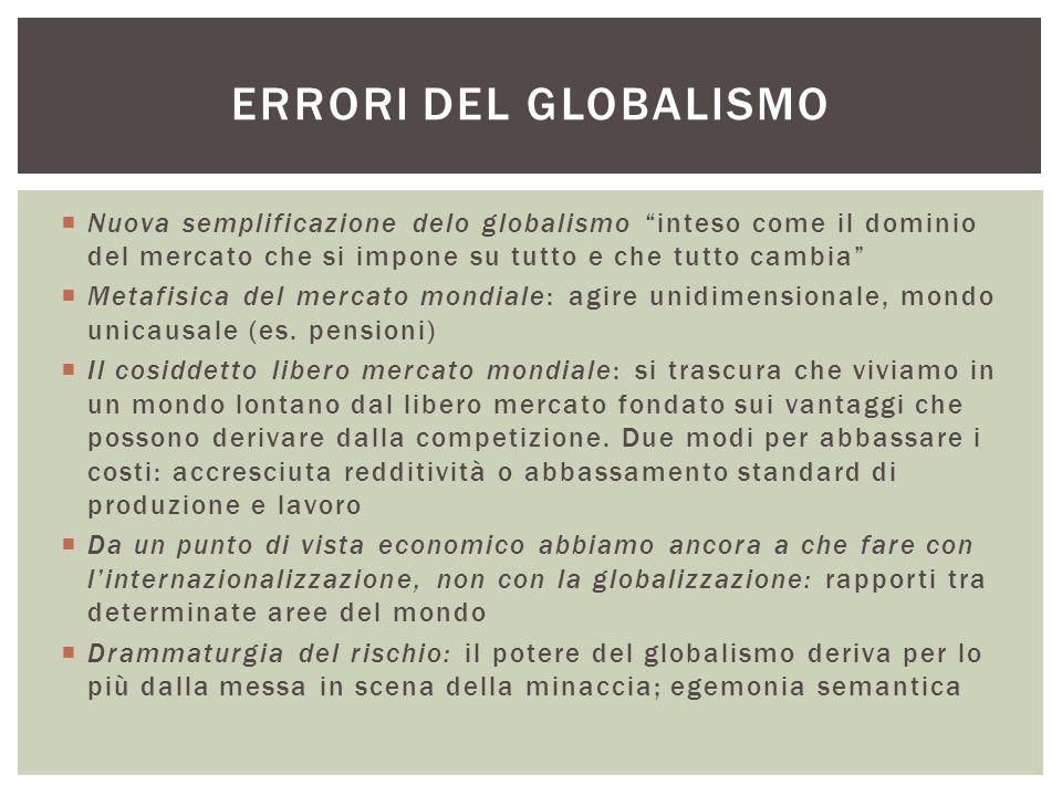 """ Nuova semplificazione delo globalismo """"inteso come il dominio del mercato che si impone su tutto e che tutto cambia""""  Metafisica del mercato mondia"""