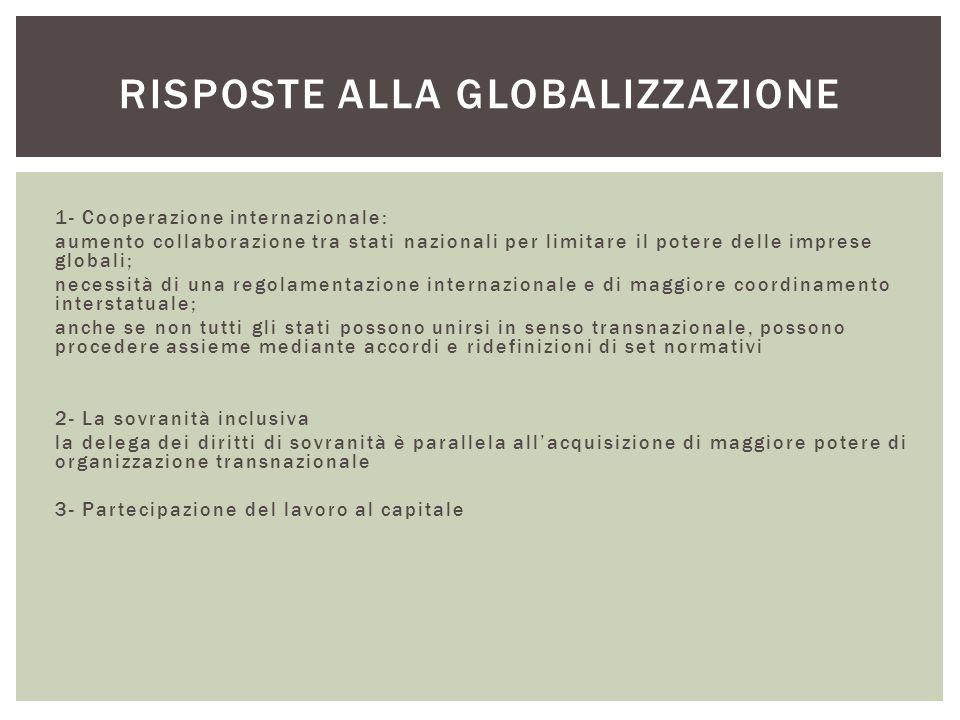 1- Cooperazione internazionale: aumento collaborazione tra stati nazionali per limitare il potere delle imprese globali; necessità di una regolamentaz