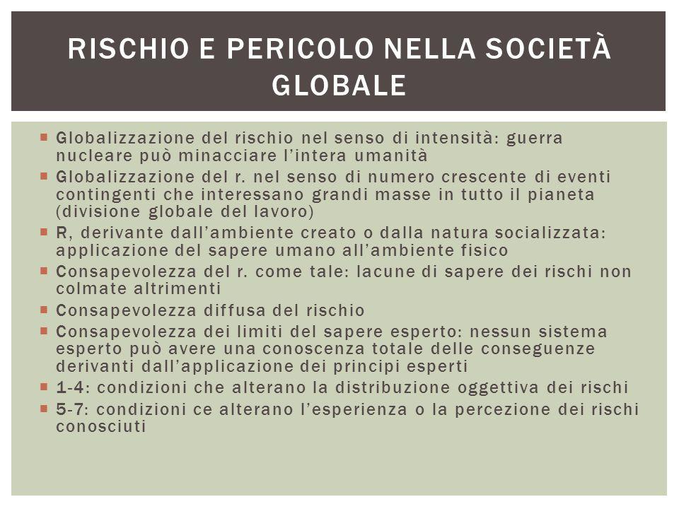  Globalizzazione del rischio nel senso di intensità: guerra nucleare può minacciare l'intera umanità  Globalizzazione del r. nel senso di numero cre