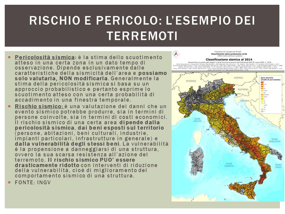  Pericolosità sismica: è la stima dello scuotimento atteso in una certa zona in un dato tempo di osservazione. Dipende esclusivamente dalle caratteri