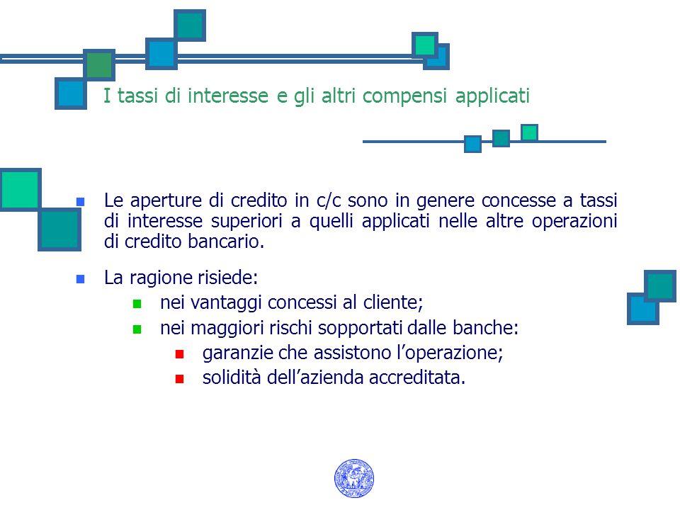 I tassi di interesse e gli altri compensi applicati Le aperture di credito in c/c sono in genere concesse a tassi di interesse superiori a quelli appl