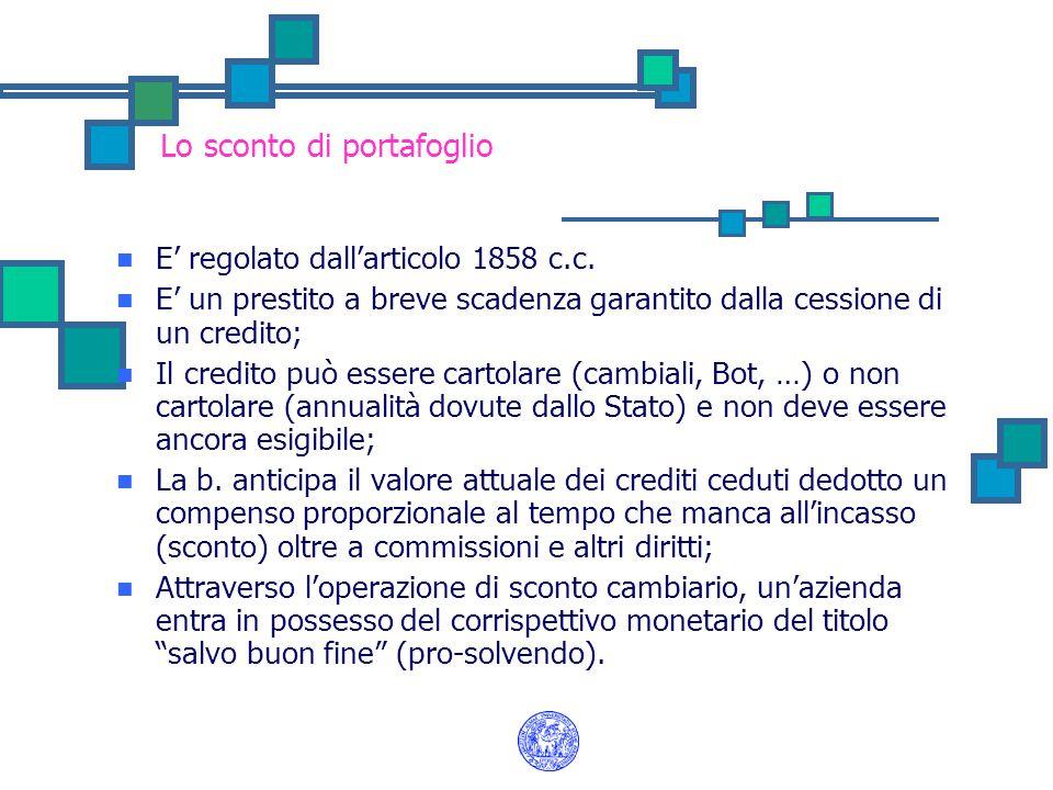 Lo sconto di portafoglio E' regolato dall'articolo 1858 c.c. E' un prestito a breve scadenza garantito dalla cessione di un credito; Il credito può es