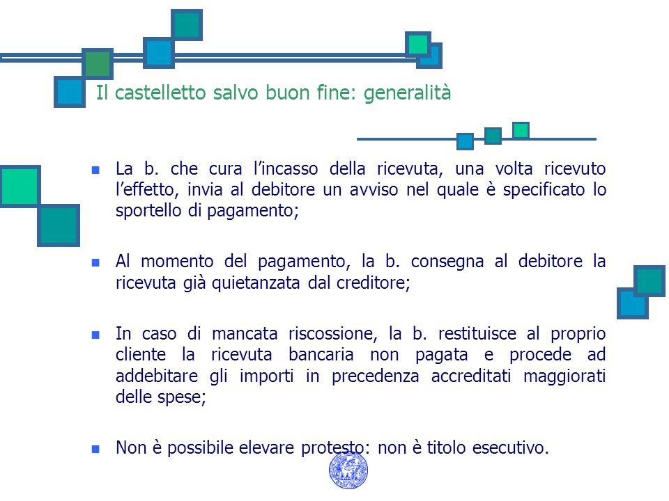 Il castelletto salvo buon fine: generalità La b. che cura l'incasso della ricevuta, una volta ricevuto l'effetto, invia al debitore un avviso nel qual