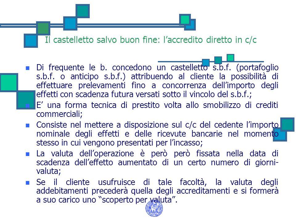 Il castelletto salvo buon fine: l'accredito diretto in c/c Di frequente le b. concedono un castelletto s.b.f. (portafoglio s.b.f. o anticipo s.b.f.) a