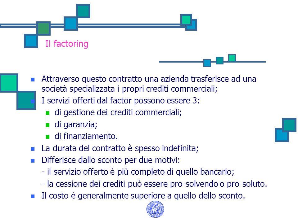 Il factoring Attraverso questo contratto una azienda trasferisce ad una società specializzata i propri crediti commerciali; I servizi offerti dal fact
