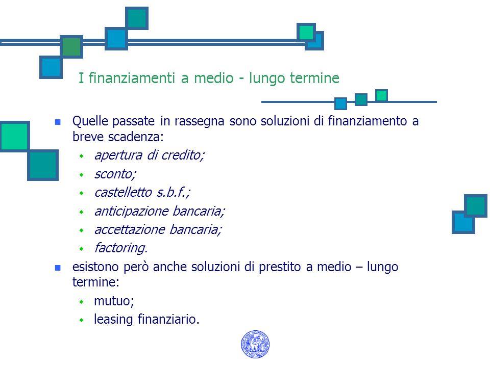 I finanziamenti a medio - lungo termine Quelle passate in rassegna sono soluzioni di finanziamento a breve scadenza: w apertura di credito; w sconto;