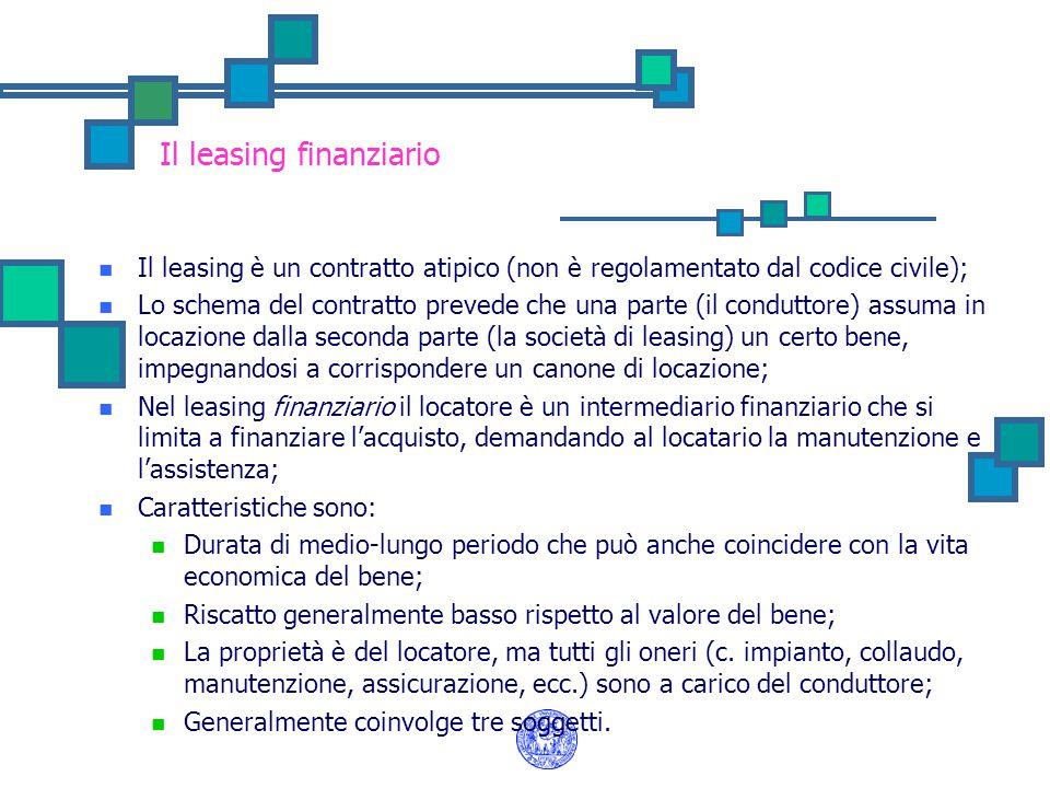 Il leasing finanziario Il leasing è un contratto atipico (non è regolamentato dal codice civile); Lo schema del contratto prevede che una parte (il co