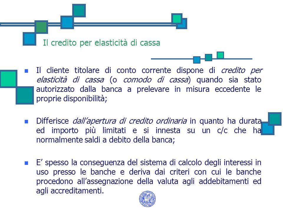 Il credito per elasticità di cassa Il cliente titolare di conto corrente dispone di credito per elasticità di cassa (o comodo di cassa) quando sia sta