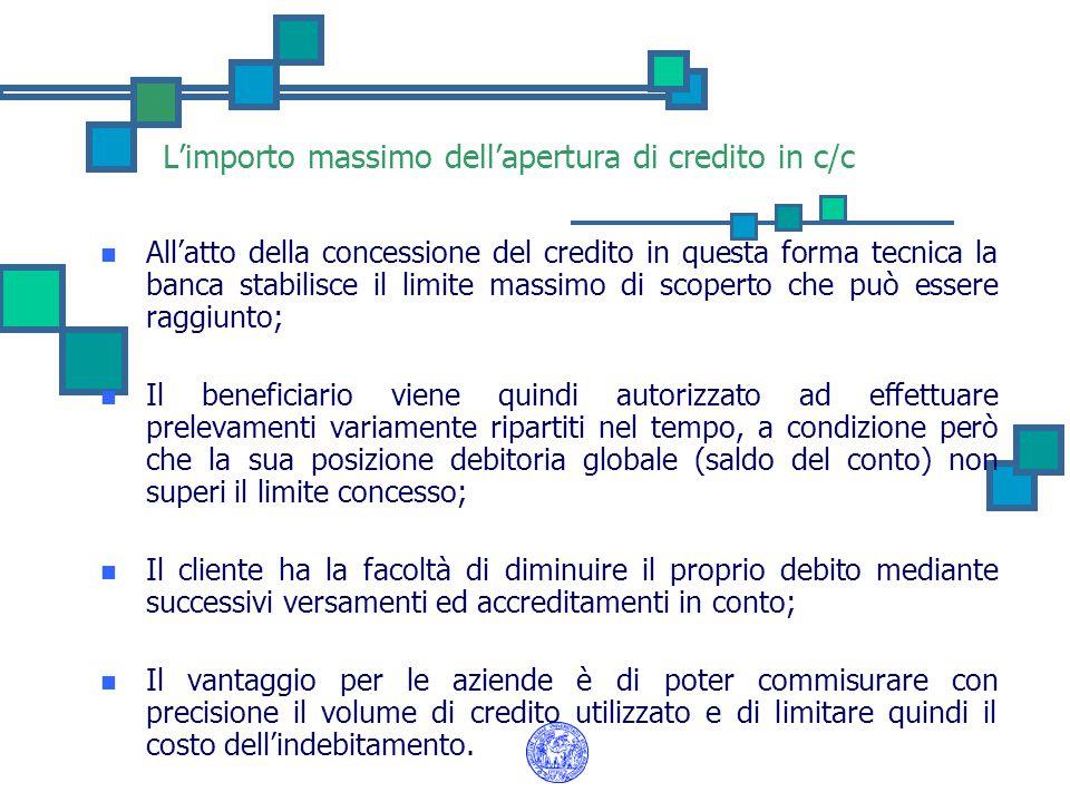 L'importo massimo dell'apertura di credito in c/c All'atto della concessione del credito in questa forma tecnica la banca stabilisce il limite massimo