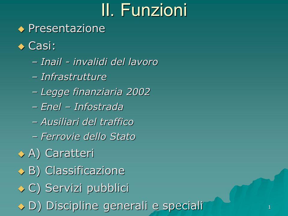1 II. Funzioni  Presentazione  Casi: –Inail - invalidi del lavoro –Infrastrutture –Legge finanziaria 2002 –Enel – Infostrada –Ausiliari del traffico