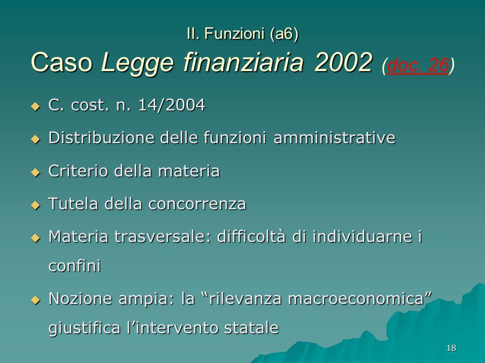 18 II. Funzioni (a6) Caso Legge finanziaria 2002 II. Funzioni (a6) Caso Legge finanziaria 2002 (doc. 26)  C. cost. n. 14/2004  Distribuzione delle f