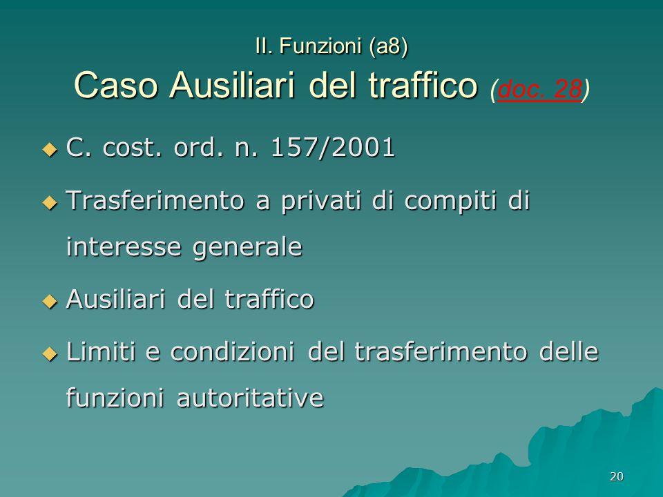 20 II. Funzioni (a8) Caso Ausiliari del traffico II. Funzioni (a8) Caso Ausiliari del traffico (doc. 28)  C. cost. ord. n. 157/2001  Trasferimento a