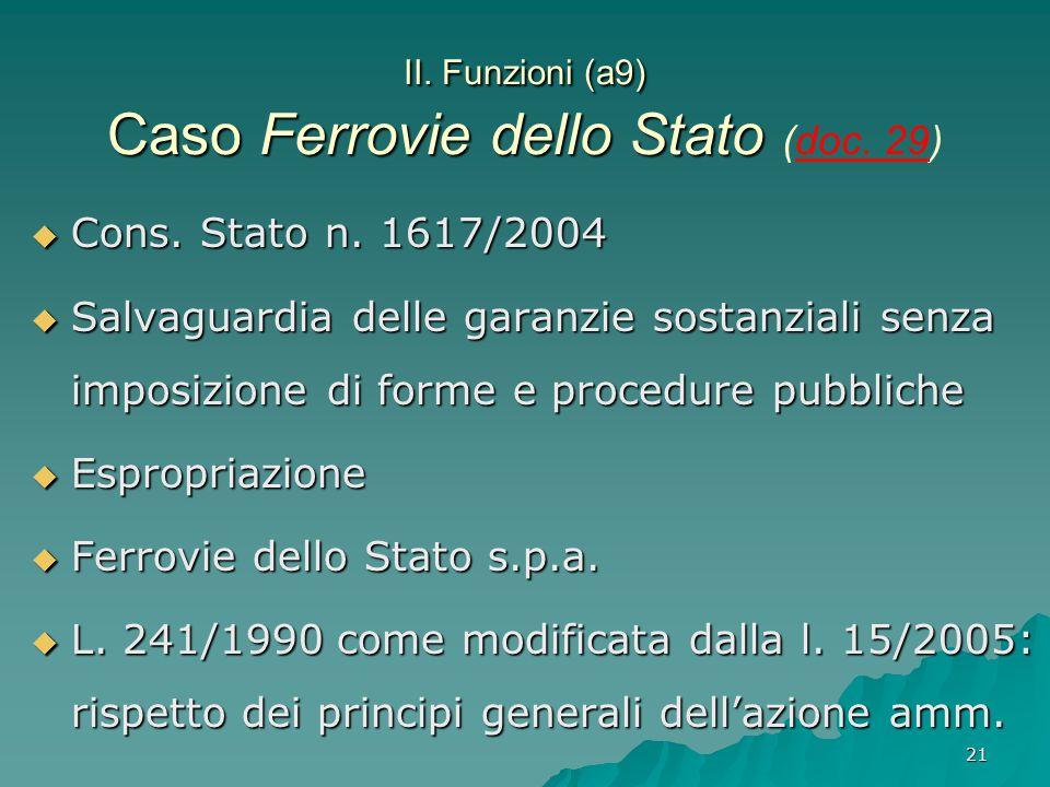 21 II. Funzioni (a9) Caso Ferrovie dello Stato II. Funzioni (a9) Caso Ferrovie dello Stato (doc. 29)  Cons. Stato n. 1617/2004  Salvaguardia delle g