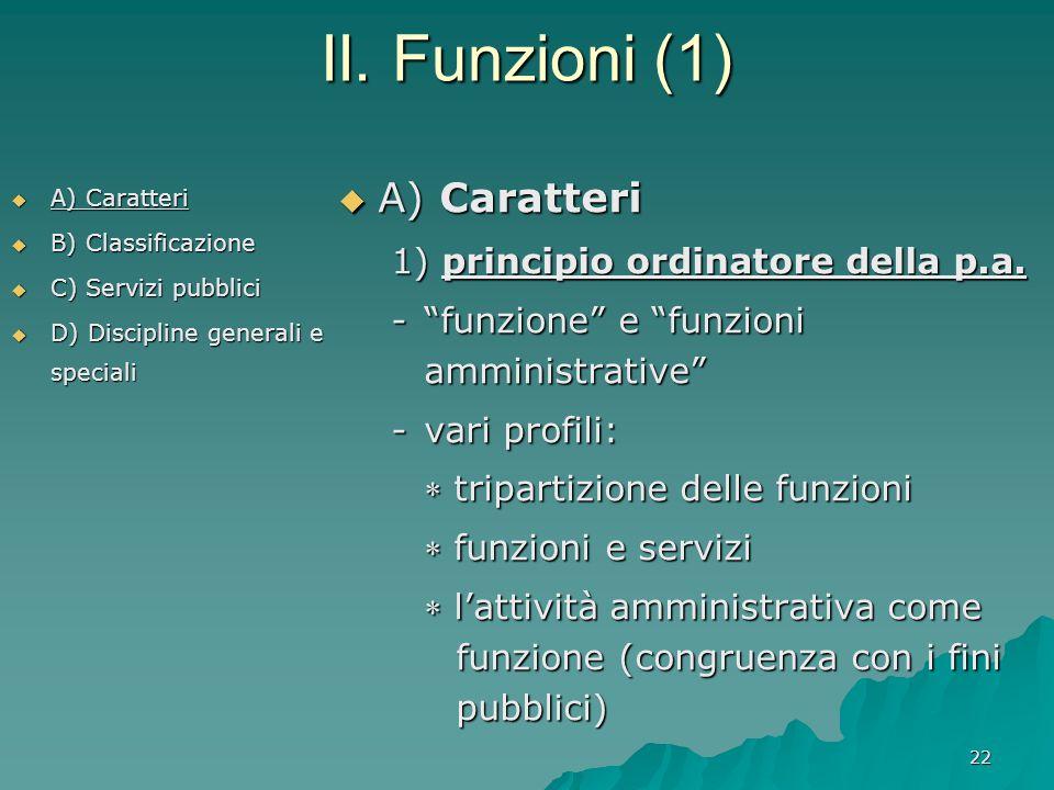 22 II. Funzioni (1)  A) Caratteri  B) Classificazione  C) Servizi pubblici  D) Discipline generali e speciali  A) Caratteri 1) principio ordinato