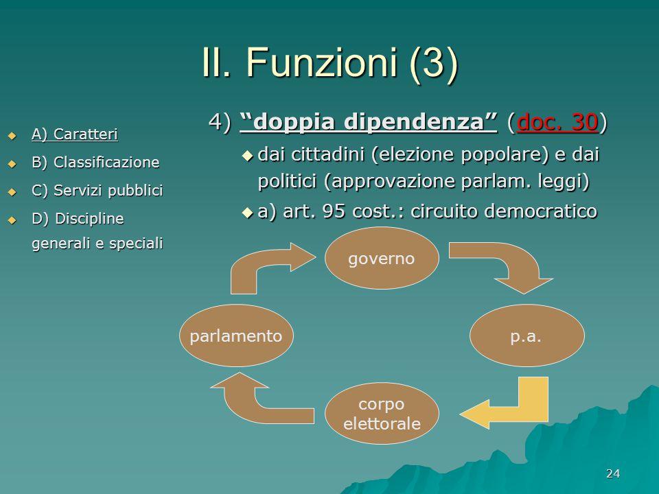 """24 II. Funzioni (3)  A) Caratteri  B) Classificazione  C) Servizi pubblici  D) Discipline generali e speciali 4) """"doppia dipendenza"""" (doc. 30)  d"""