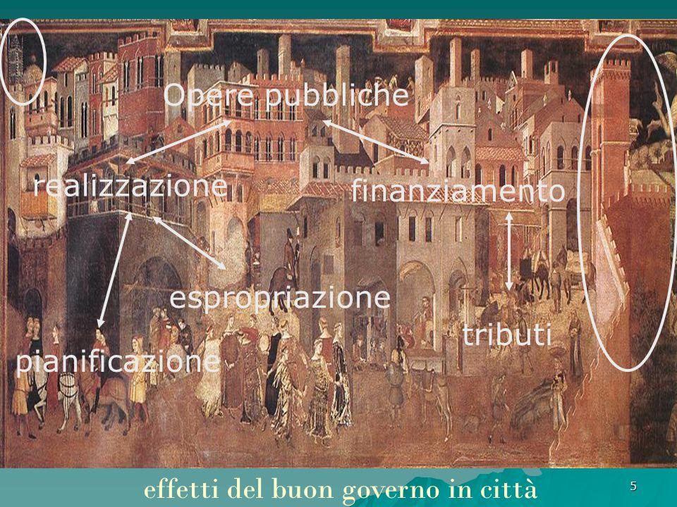 5 effetti del buon governo in città Opere pubbliche realizzazione finanziamento espropriazione tributi pianificazione