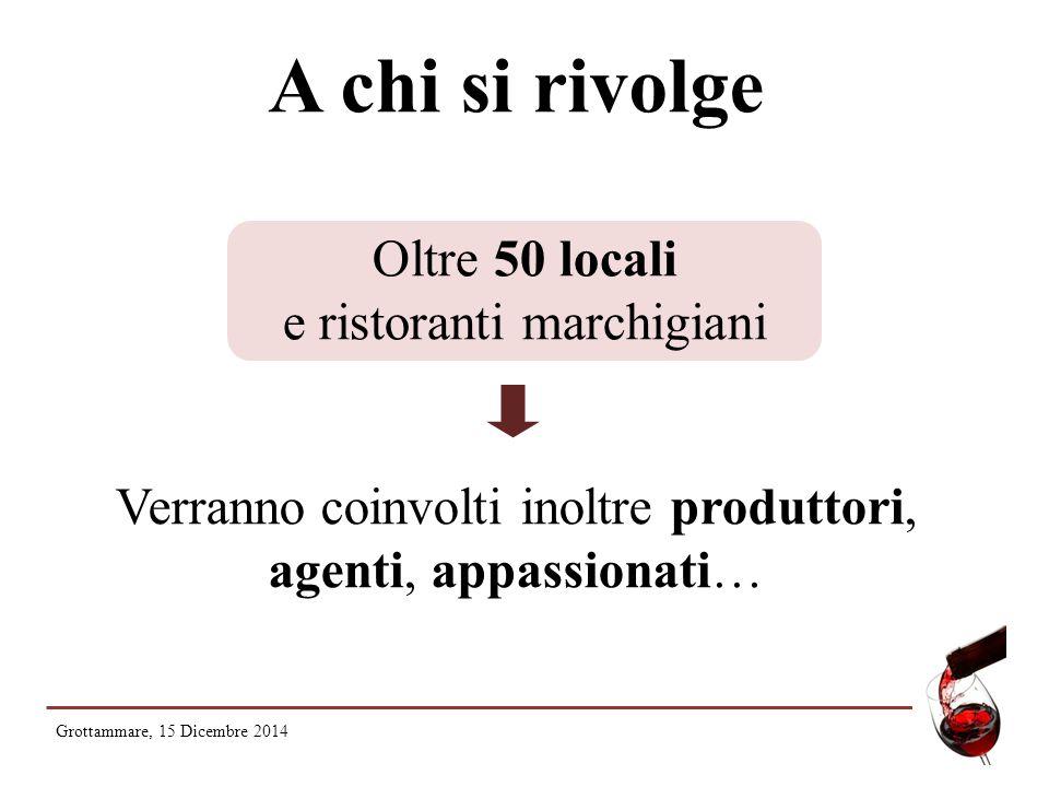 A chi si rivolge Oltre 50 locali e ristoranti marchigiani Verranno coinvolti inoltre produttori, agenti, appassionati… Grottammare, 15 Dicembre 2014