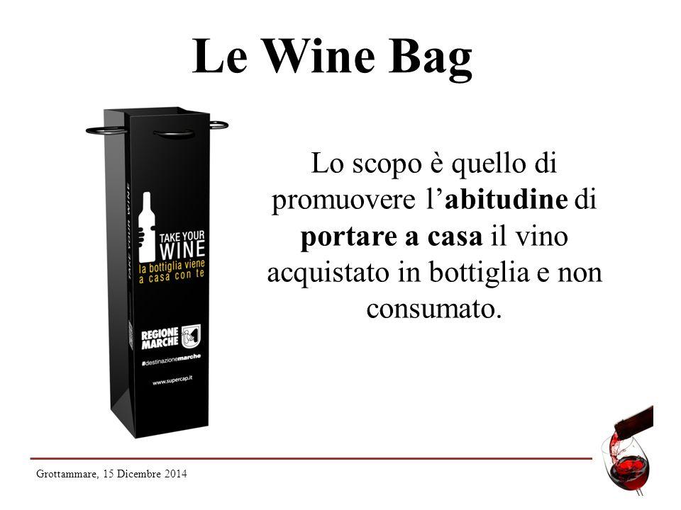 Le Wine Bag Lo scopo è quello di promuovere l'abitudine di portare a casa il vino acquistato in bottiglia e non consumato.