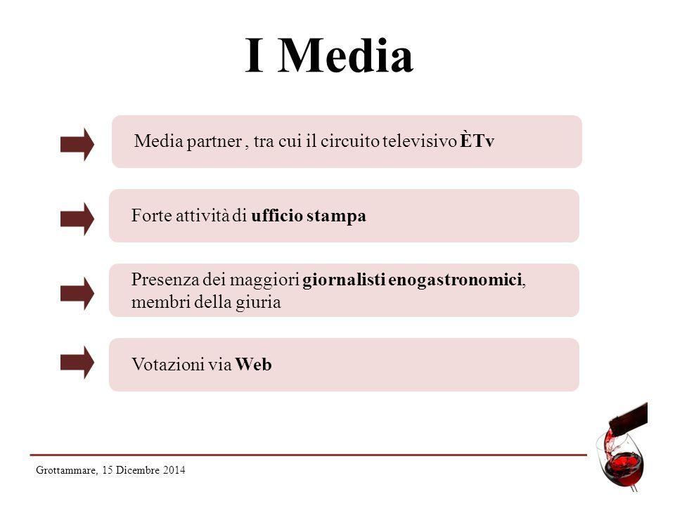 I Media Media partner, tra cui il circuito televisivo ÈTv Forte attività di ufficio stampa Presenza dei maggiori giornalisti enogastronomici, membri della giuria Votazioni via Web Grottammare, 15 Dicembre 2014