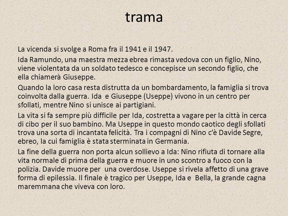 trama La vicenda si svolge a Roma fra il 1941 e il 1947. Ida Ramundo, una maestra mezza ebrea rimasta vedova con un figlio, Nino, viene violentata da