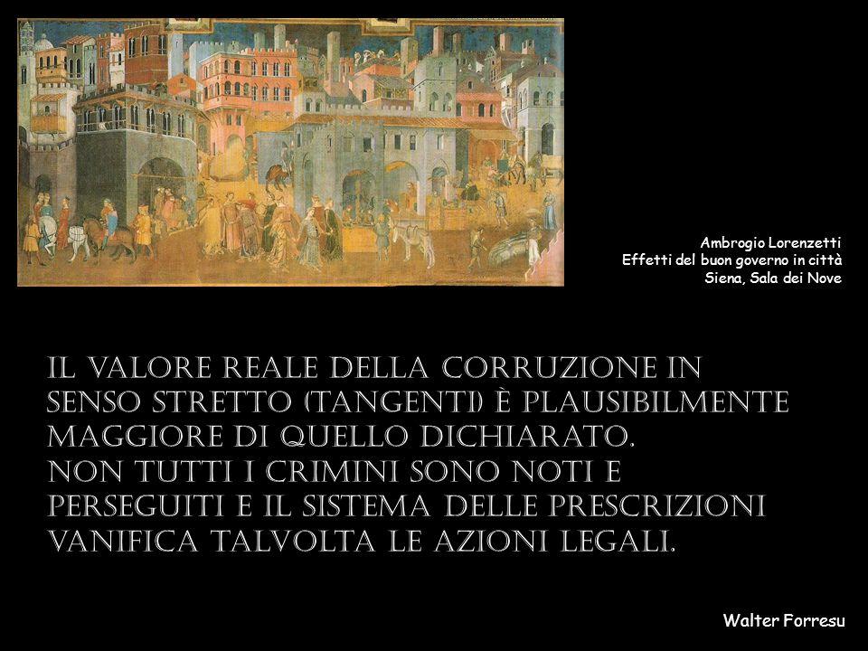 Walter Forresu Ambrogio Lorenzetti Effetti del buon governo in città Siena, Sala dei Nove Il valore reale della corruzione in senso stretto (tangenti) è plausibilmente maggiore di quello dichiarato.