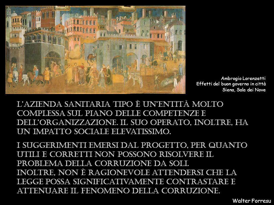 Walter Forresu Ambrogio Lorenzetti Effetti del buon governo in città Siena, Sala dei Nove L'azienda sanitaria tipo è un'entità molto complessa sul piano delle competenze e dell'organizzazione.