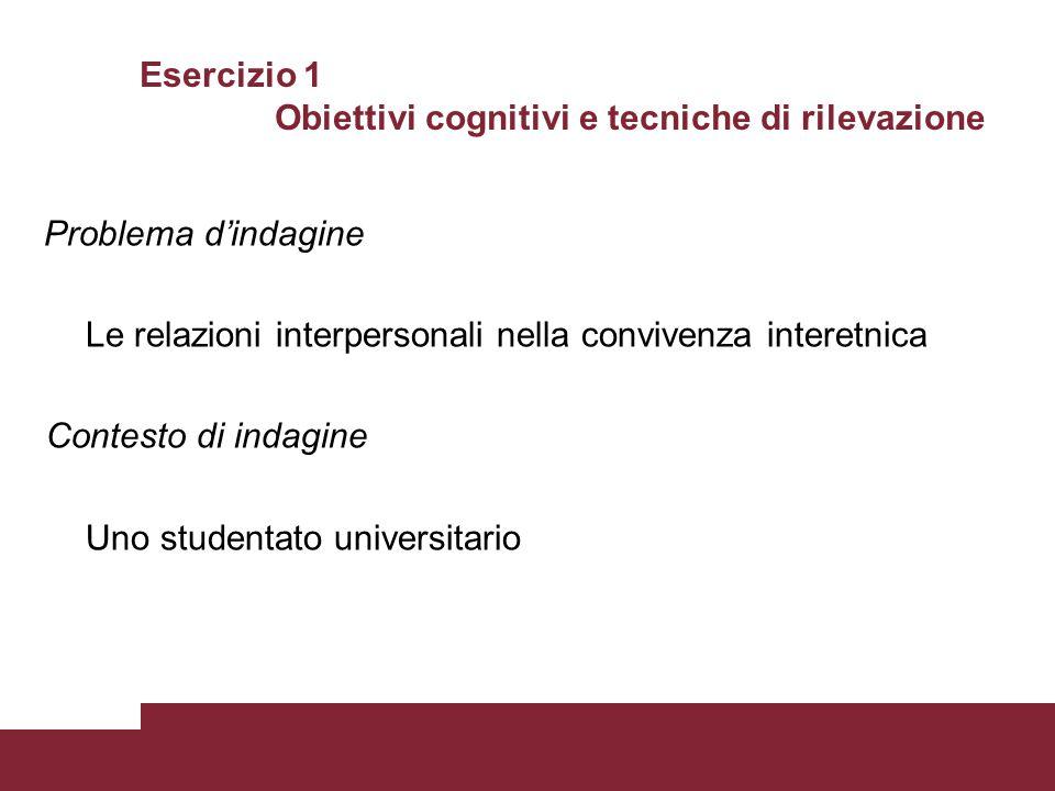 Esercizio 1 Obiettivi cognitivi e tecniche di rilevazione Problema d'indagine Le relazioni interpersonali nella convivenza interetnica Contesto di ind