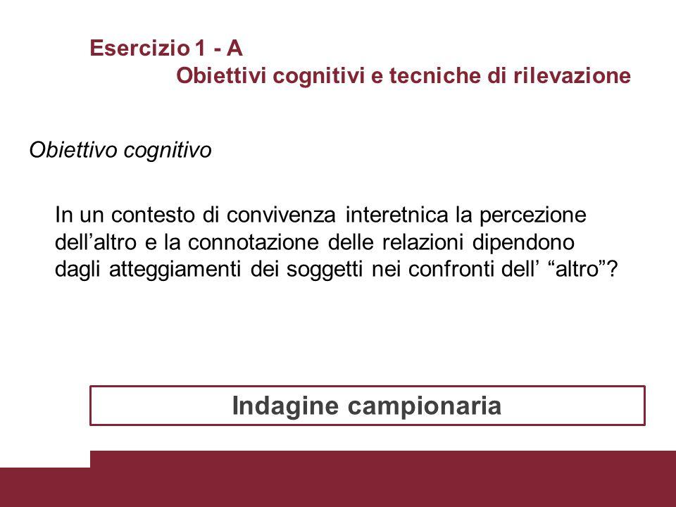 Esercizio 1 - A Obiettivi cognitivi e tecniche di rilevazione Obiettivo cognitivo In un contesto di convivenza interetnica la percezione dell'altro e
