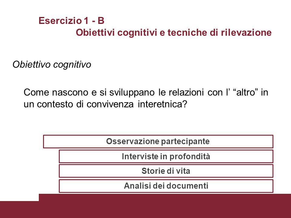 """Esercizio 1 - B Obiettivi cognitivi e tecniche di rilevazione Obiettivo cognitivo Come nascono e si sviluppano le relazioni con l' """"altro"""" in un conte"""