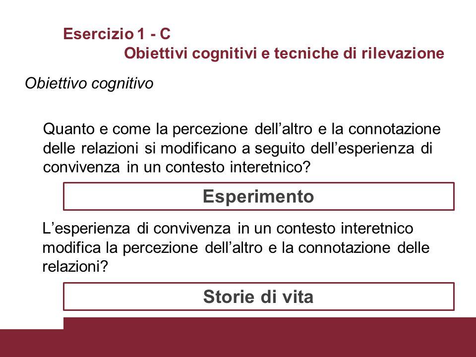 Esercizio 1 - C Obiettivi cognitivi e tecniche di rilevazione Obiettivo cognitivo Quanto e come la percezione dell'altro e la connotazione delle relaz