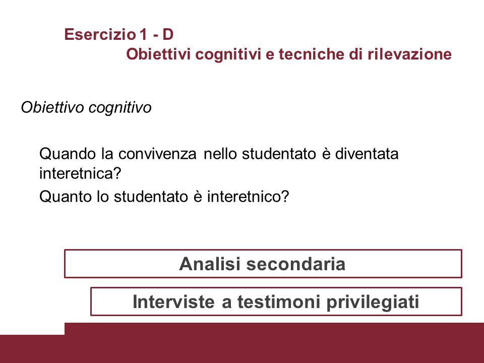 Esercizio 1 - D Obiettivi cognitivi e tecniche di rilevazione Obiettivo cognitivo Quando la convivenza nello studentato è diventata interetnica? Quant