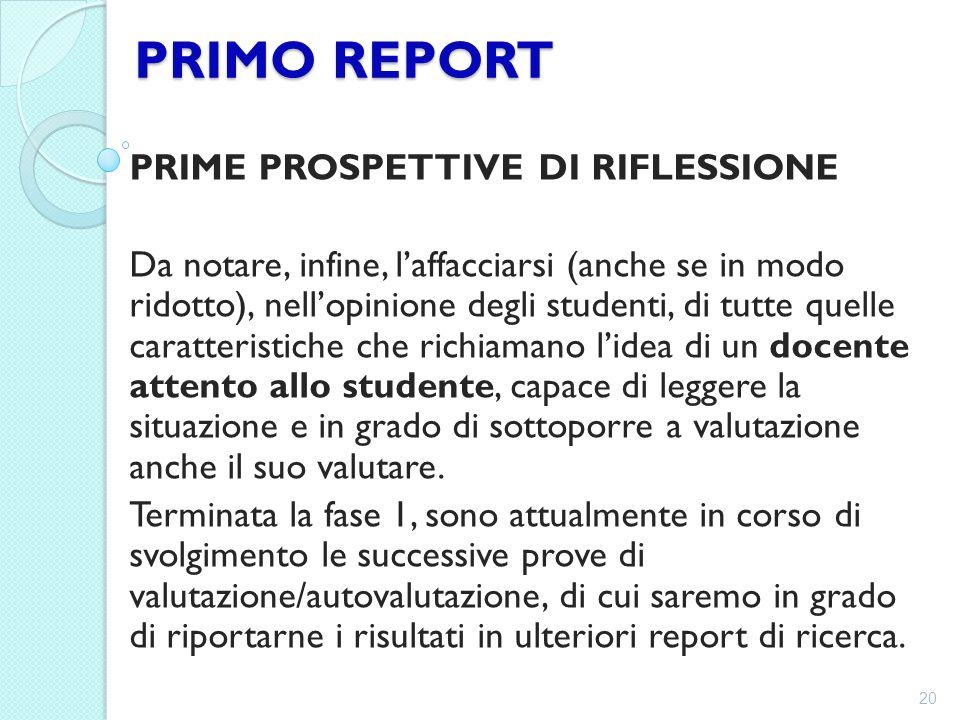 PRIMO REPORT PRIME PROSPETTIVE DI RIFLESSIONE Da notare, infine, l'affacciarsi (anche se in modo ridotto), nell'opinione degli studenti, di tutte quel