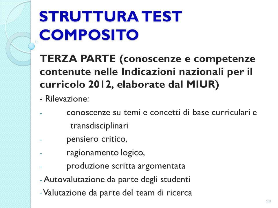 STRUTTURA TEST COMPOSITO TERZA PARTE (conoscenze e competenze contenute nelle Indicazioni nazionali per il curricolo 2012, elaborate dal MIUR) - Rilev