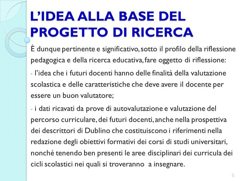 L'IDEA ALLA BASE DEL PROGETTO DI RICERCA È dunque pertinente e significativo, sotto il profilo della riflessione pedagogica e della ricerca educativa,