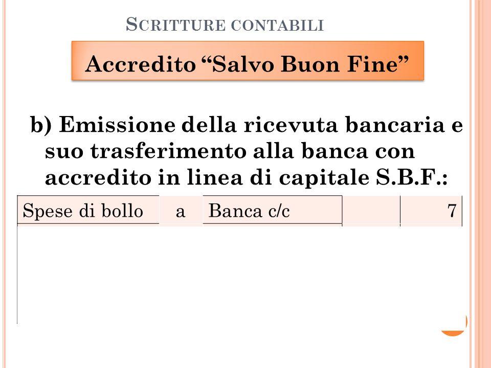"""S CRITTURE CONTABILI Accredito """"Salvo Buon Fine"""" b) Emissione della ricevuta bancaria e suo trasferimento alla banca con accredito in linea di capital"""