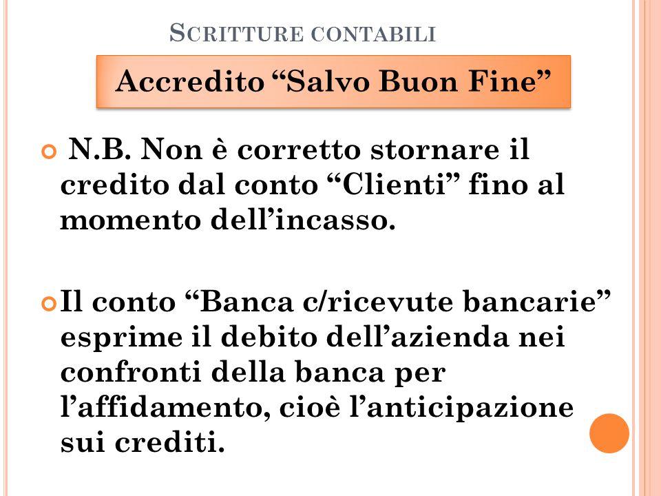 """S CRITTURE CONTABILI Accredito """"Salvo Buon Fine"""" N.B. Non è corretto stornare il credito dal conto """"Clienti"""" fino al momento dell'incasso. Il conto """"B"""
