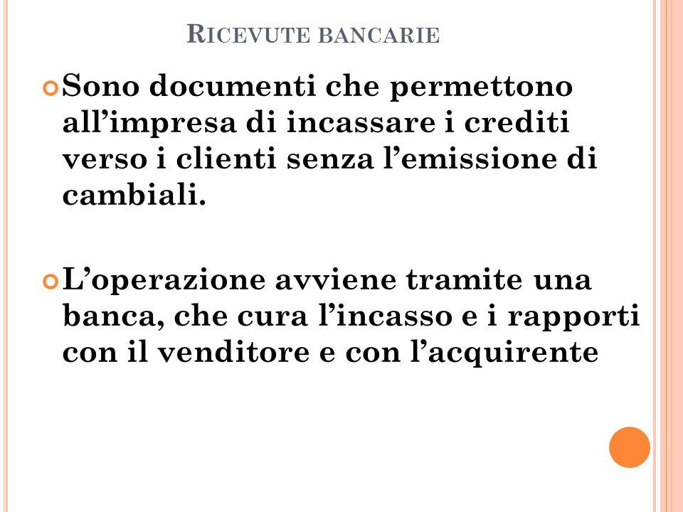 R ICEVUTE BANCARIE Sono documenti che permettono all'impresa di incassare i crediti verso i clienti senza l'emissione di cambiali.