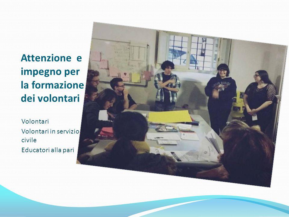 Attenzione e impegno per la formazione dei volontari Volontari Volontari in servizio civile Educatori alla pari