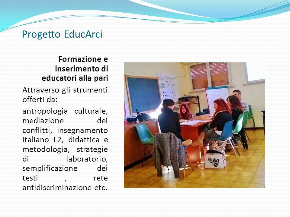 Progetto EducArci Formazione e inserimento di educatori alla pari Attraverso gli strumenti offerti da: antropologia culturale, mediazione dei conflitti, insegnamento italiano L2, didattica e metodologia, strategie di laboratorio, semplificazione dei testi, rete antidiscriminazione etc.