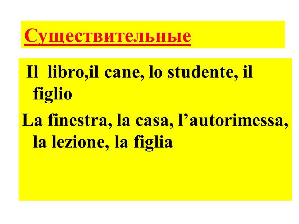 Il libro,il cane, lo studente, il figlio La finestra, la casa, l'autorimessa, la lezione, la figlia Существительные