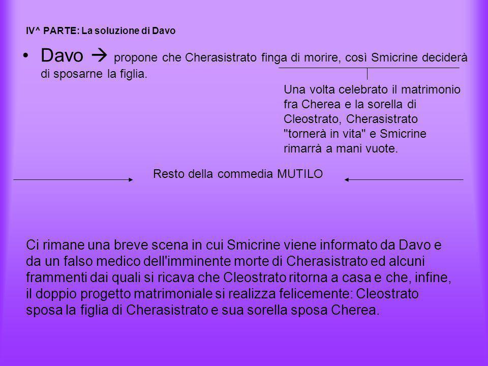 IV^ PARTE: La soluzione di Davo Davo  propone che Cherasistrato finga di morire, così Smicrine deciderà di sposarne la figlia. Una volta celebrato il