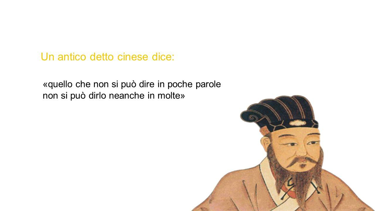 Un antico detto cinese dice: «quello che non si può dire in poche parole non si può dirlo neanche in molte»