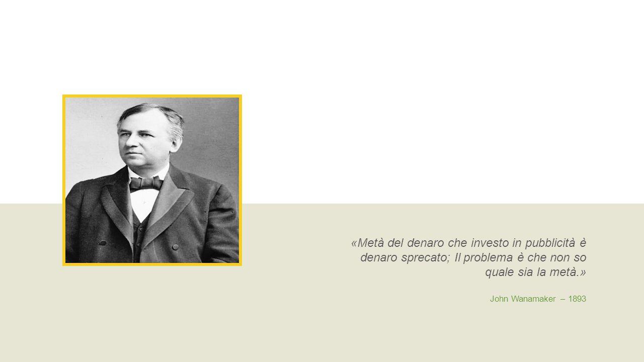 «Metà del denaro che investo in pubblicità è denaro sprecato; Il problema è che non so quale sia la metà.» John Wanamaker – 1893