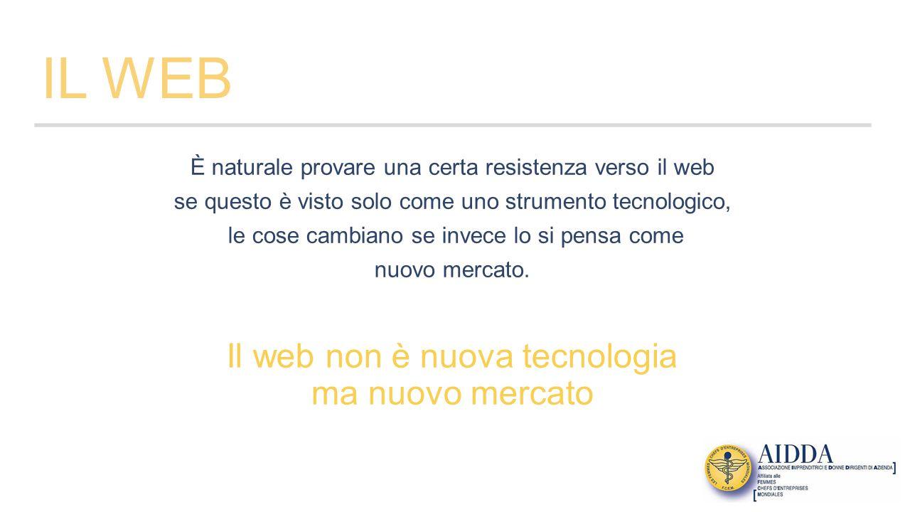 IL WEB È naturale provare una certa resistenza verso il web se questo è visto solo come uno strumento tecnologico, le cose cambiano se invece lo si pensa come nuovo mercato.