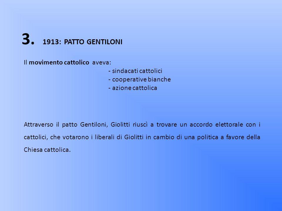 2. 1895: PARTITO SOCIALISTA ITALIANO era diviso in due tendenze: - riformista (guidata da TURATI) - massimalista (guidata da MUSSOLINI) Giolitti cercò