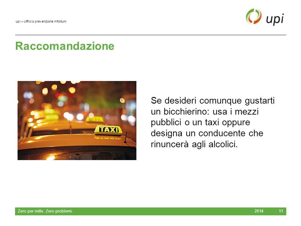 upi – Ufficio prevenzione infortuni Raccomandazione 2014 Zero per mille.