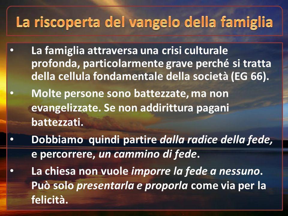 La famiglia attraversa una crisi culturale profonda, particolarmente grave perché si tratta della cellula fondamentale della società (EG 66). Molte pe